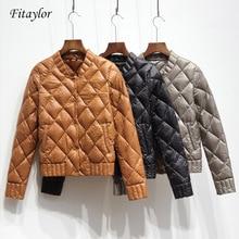 超軽量ホワイトダックダウンジャケット秋冬の女性のプラスサイズ ネックコートスリムショートコート o Fitaylor