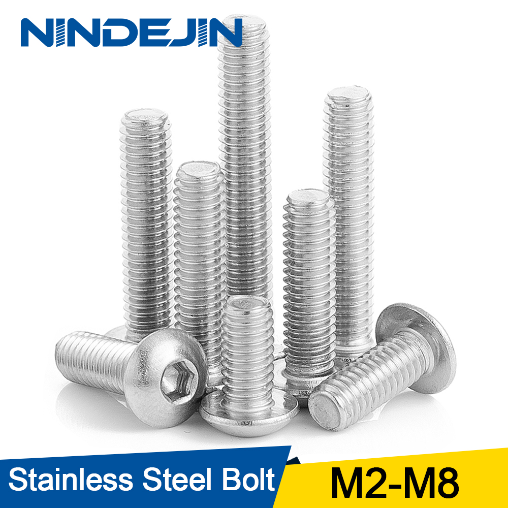 10/50pcs M2 M2.5 M3 M4 M5 M6 M8 304 Stainless Steel Hexagon Hex Socket Button Head Screw Bolts Round Head Screw Standoff ISO7380