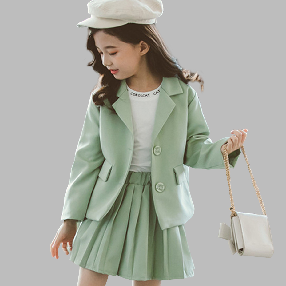 Image 1 - Girls Clothes Pleated Skirt & Jacket Girls Clothing Solid Outerwear Suit For Girls School Uniform Fashion Kid Winter ClothesClothing Sets   -