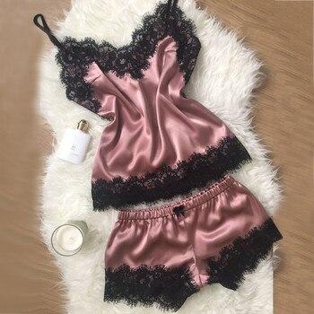 2020 Women Clothes Healthy Fashion Simple Home Wear Sets Sexy Lace Sleepwear Lingerie Babydoll Nightwear Satin Cami Top femme ruched handkerchief cami babydoll