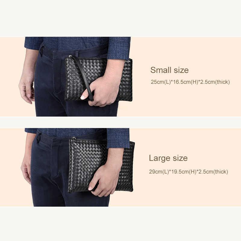 100% saco de embreagem de couro dos homens de luxo marca tecido saco de couro design de moda simples envelope saco grande capacidade novo local
