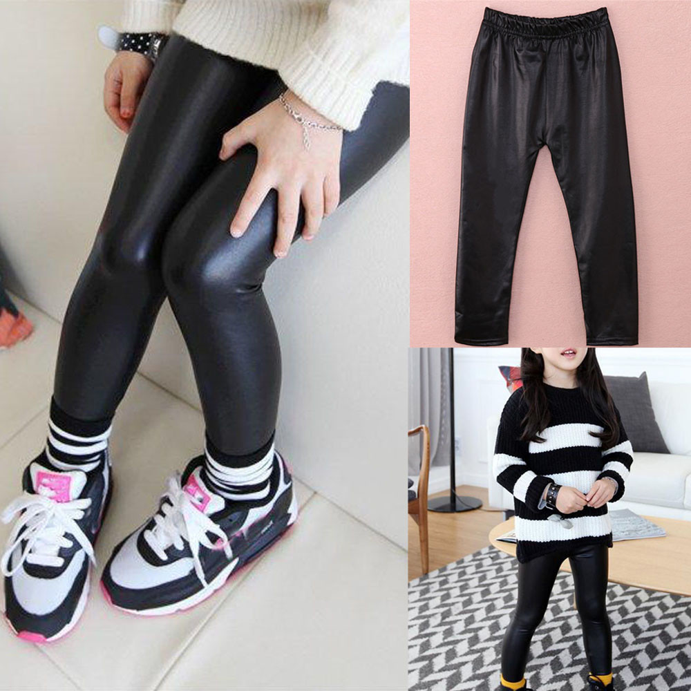 Leather Tights Winter Children Trousers Stockings Kids Classic Baby Girls Pencil Pants Basic Baby Girl Clothes Tights For Girls