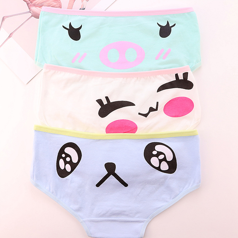 Women's Underpants Cartoon Cute Underwear Cotton Low Waist Girls Women Panties Lingerie Soft Comfortable Bowknot 2019 New Hot