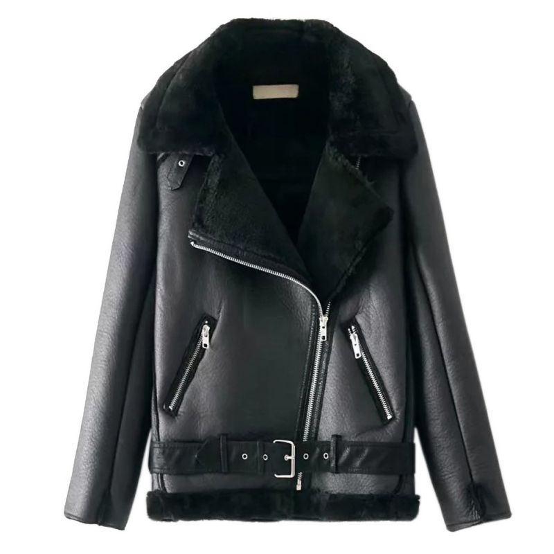Women Long Sleeve Zippers Pocket Coat Lapel Faux   Leather   Jackets Buckle Outwear Streetwear