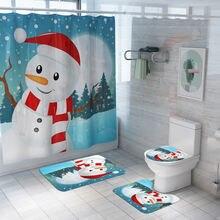 Рождественские занавески для ванной комнаты Противоскользящие