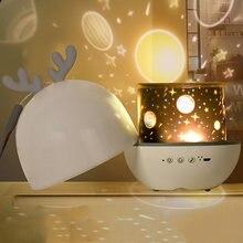 Projetor led night light projetor com usb 360 rotativa céu estrelado projetor lâmpada de projeção para crianças presente do bebê