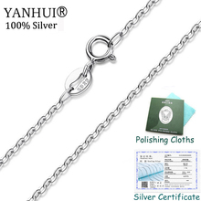 Sent Certificate! Original 925 Silver Chain Necklace Width 1mm Length 40/45cm Round Link Beads O style Jewelry Wholesale