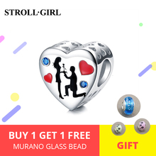 2019 New lover heart Charm beads Fit original charms silver 925 bracelets Fashion jewelry for Valentines gifts