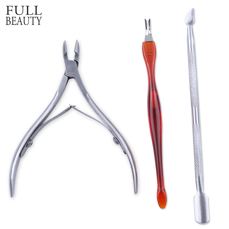 Stainless Steel Nail Cuticle Pusher Set Gel Varnish Remover Spoon Fork Nipper Cutter For Dead Skin Clean Manicure Tool CHNC385-1
