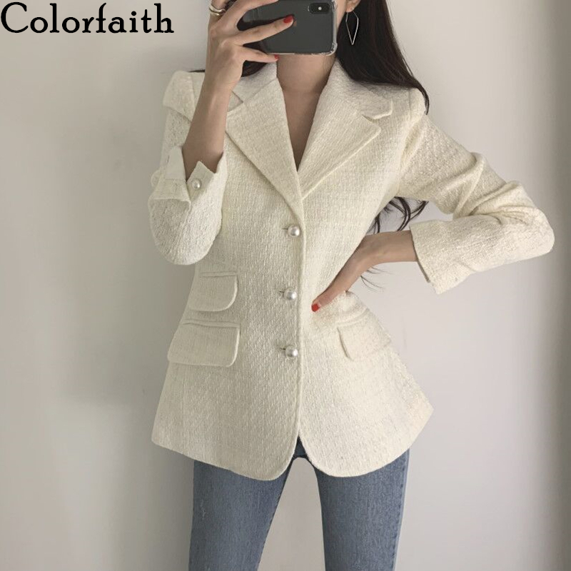 Colorfaith New 2019 Autumn Winter Women's Blazers Plaid Button Pockets Formal Jackets Notched Outerwear England Style Tops JK151