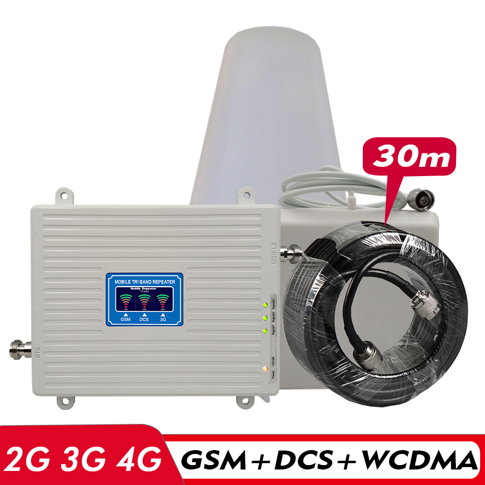 Tri-Band Booster 2G GSM 900MHz+4G DCS/LTE 1800(B3)+3G UMTS/WCDMA 2100(B1) Mobile Signal Repeater Cellular Amplifier Antenna Set