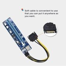 VER 008C Molex 6 Pin PCIE PCI-E PCI Express yükseltici kart 1X to 16X genişletici 60cm USB 3.0 kablo madencilik Bitcoin madenci için