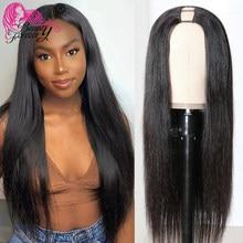 Beauty Forever-pelucas con parte en U recta, sin pegamento, 200% de densidad, pelucas de cabello humano Remy brasileño, medio abierto, Upart