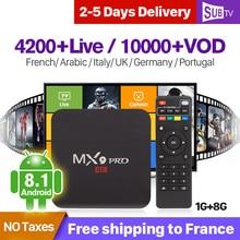 IPTV France Arabic Italy Canada SUBTV Box MX9Pro Android 8.1 1G+8G IP TV 1 Year Subscription