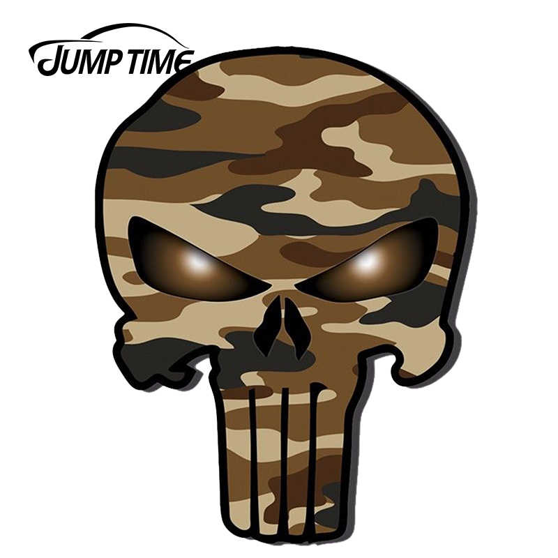 JumpTime 13cm X 9,8 cm pegatinas de coche Punisher camuflaje militar calavera JDM vinilo adhesivo Accesorios
