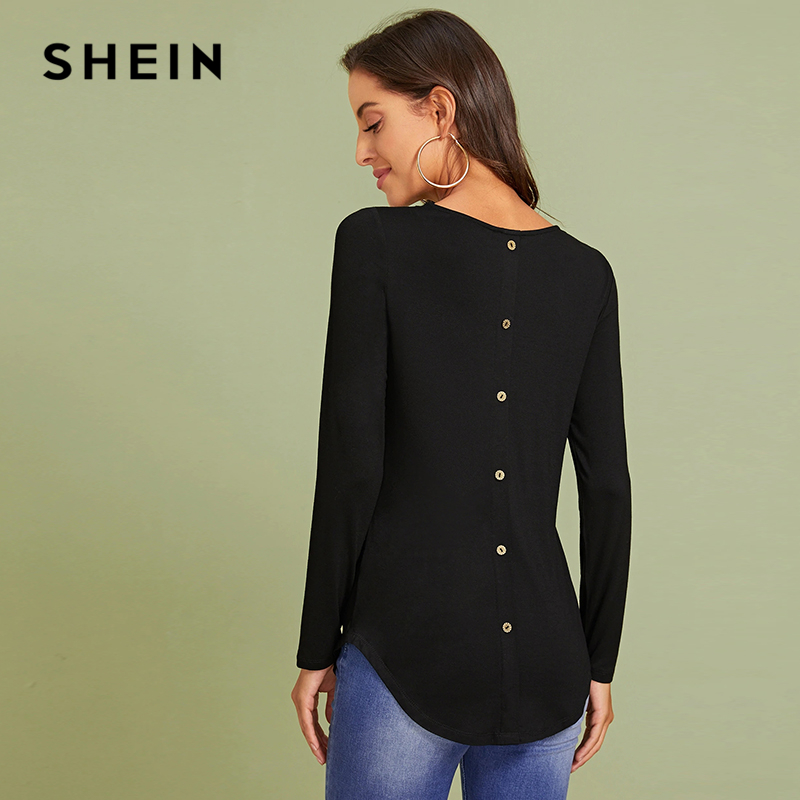 SHEIN Black Button Back Asymmetrical High-low Hem Tee Women Tops Autumn Round Neck Long Sleeve Loose Solid Casual T-shirts