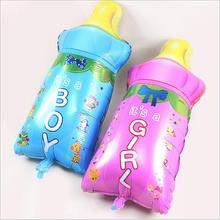 цена на Manufacturers selling balloons birthday party layout pink blue aluminum film male baby girl cartoon bottle balloon