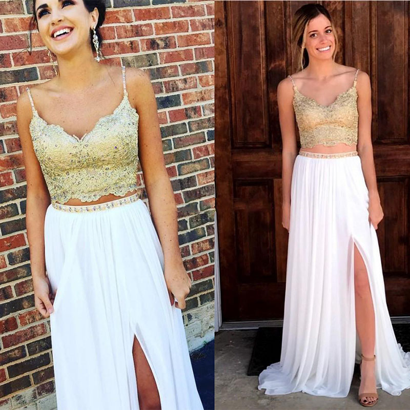White Gold Two Piece Evening Dresses V Neck Lace Chiffon Beading Split Long Prom Dresses Formal Gowns robe de soiree