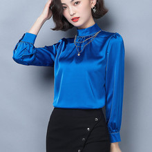 Korean Silk Women Shirts Elegant Women Long Sleeve Solid Blouse Shirt Plus Size Woman Satin Blouses Shirts Blusas Mujer De Moda