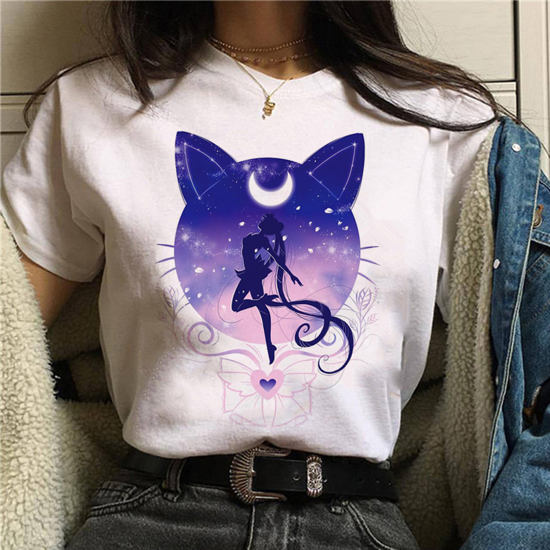 WVIOCE Harajuku Sailor Moon Tshirt Cartoon Cat Printed Womens T Shirt Hip Hop Women Shirts Summer Top Streetwear Female Clothes