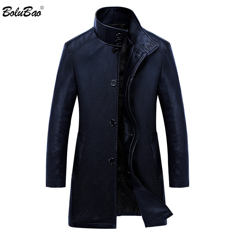 BOLUBAO Men's Fashion Brand Leather Jacket Autumn New Men Long Section Slim Leather Trench Coat Male Solid Color Leather Jackets