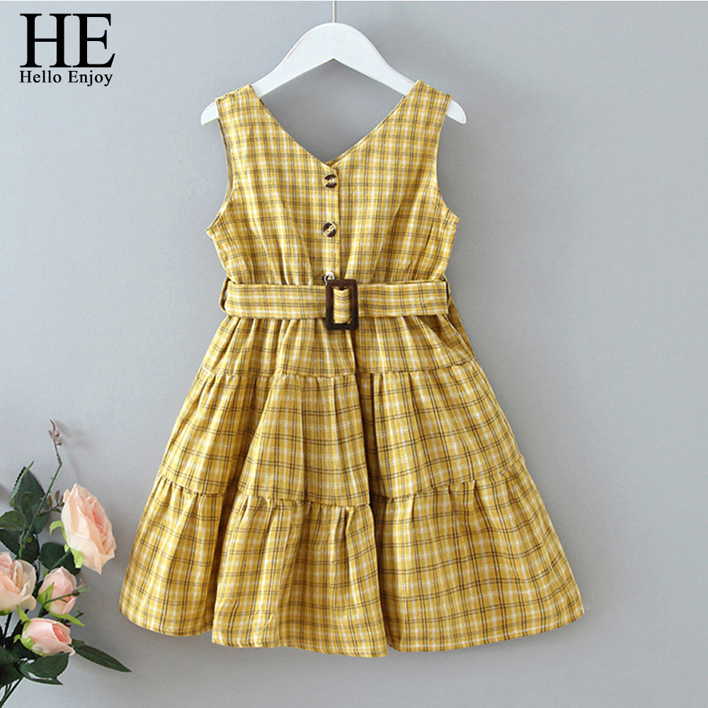 HE Hello Enjoy Baby Girls Dresses 2020 New Summer Kids Single-breasted V-neck Check Sleeveless Vest Princess Party Casual Dress