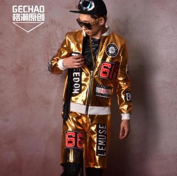 Golden jacket men clothes mens jackets Cloth stitching coats Fringe hip hop personality jaqueta masculina chaqueta hombre