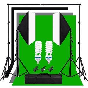 Фон для студийной фотосъемки 135 Вт 5500 к лампа дневного света 2*2 м фон подставка софтбокс осветительный комплект