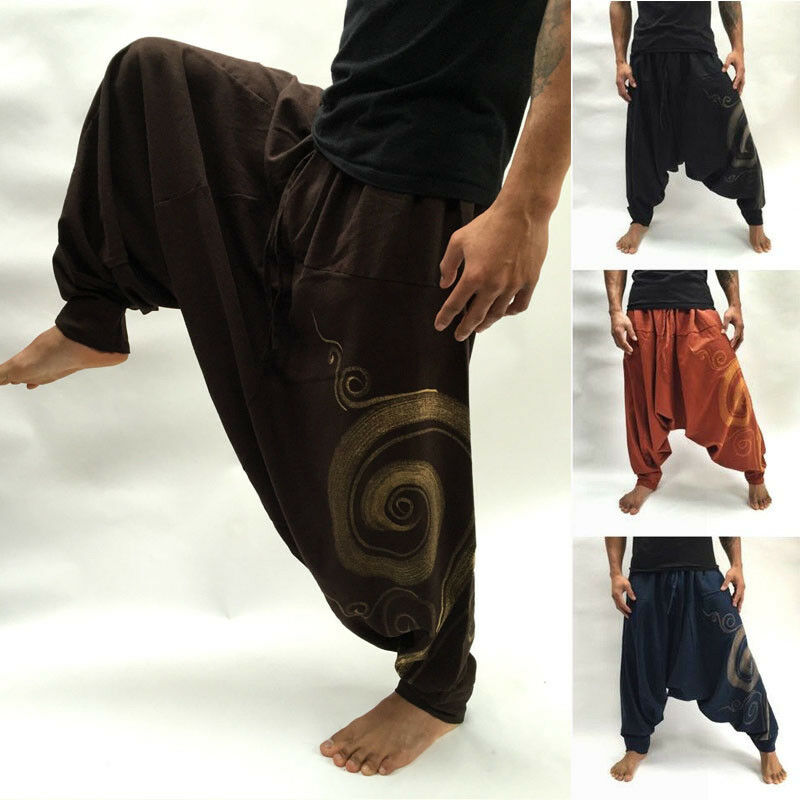 2019 Casual Mens Cotton Soft Loose Pants Beach Yoga Long Slacks Trousers M-3XL Plus Size Men Cross-Pants National Style Loose
