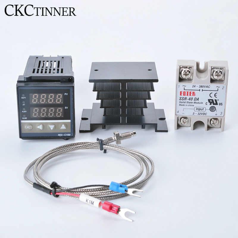 1 Juego de controlador de temperatura REX-C100 termostato REX C100 40DA SSR relé K termopar 1m sonda