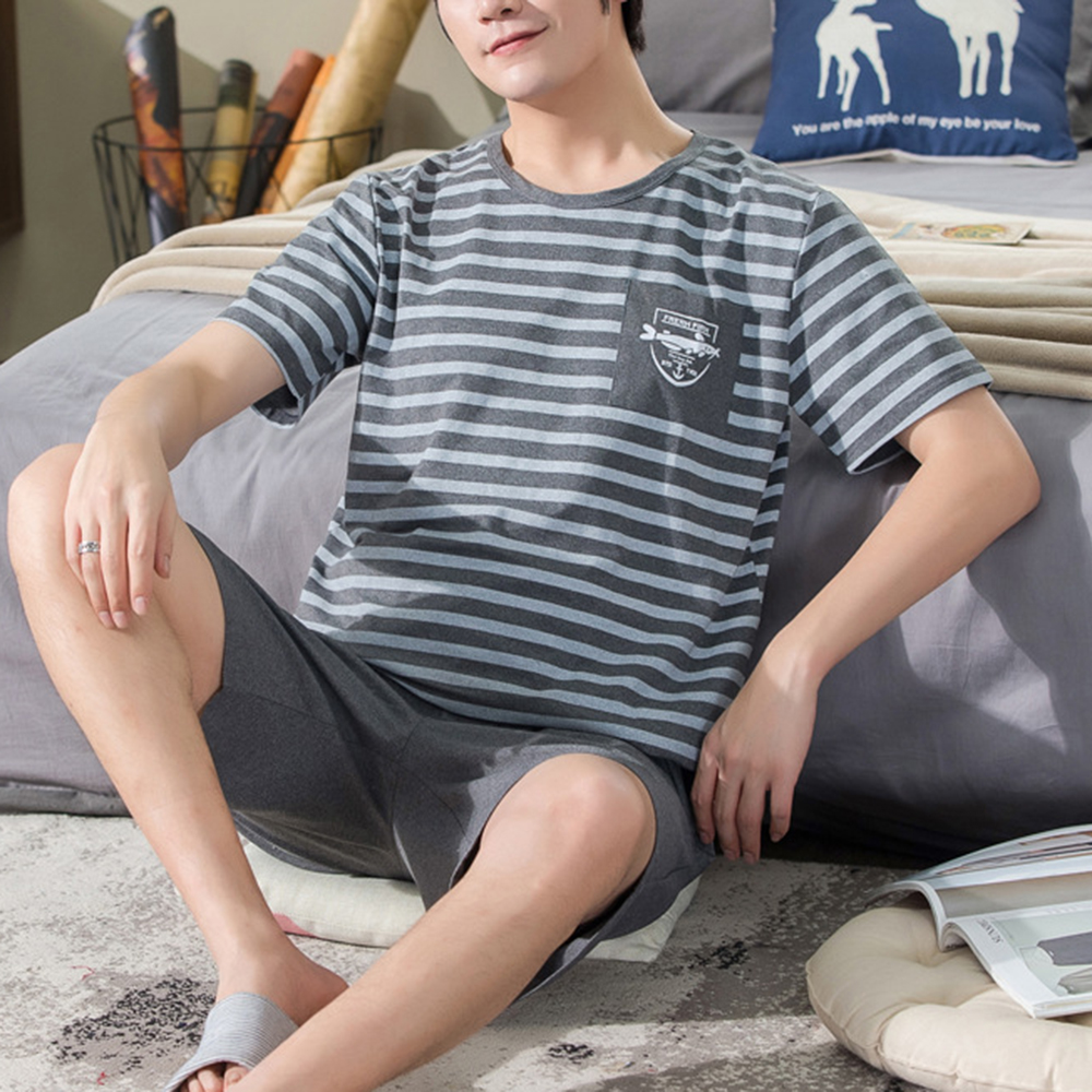 Men Summer Cotton Short-sleeved Shorts Pajamas Set Thin Section Home Suit Multi Styles L-xxxl Plus Sizes Mens Sleepwear Pajamas