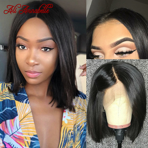 Image 1 - Lace Front Wigs Bob Peruvian Straight Lace Front Human Hair Wig Pre Plucked Natural Hairline Straight Human Hair Short Bob Wigs