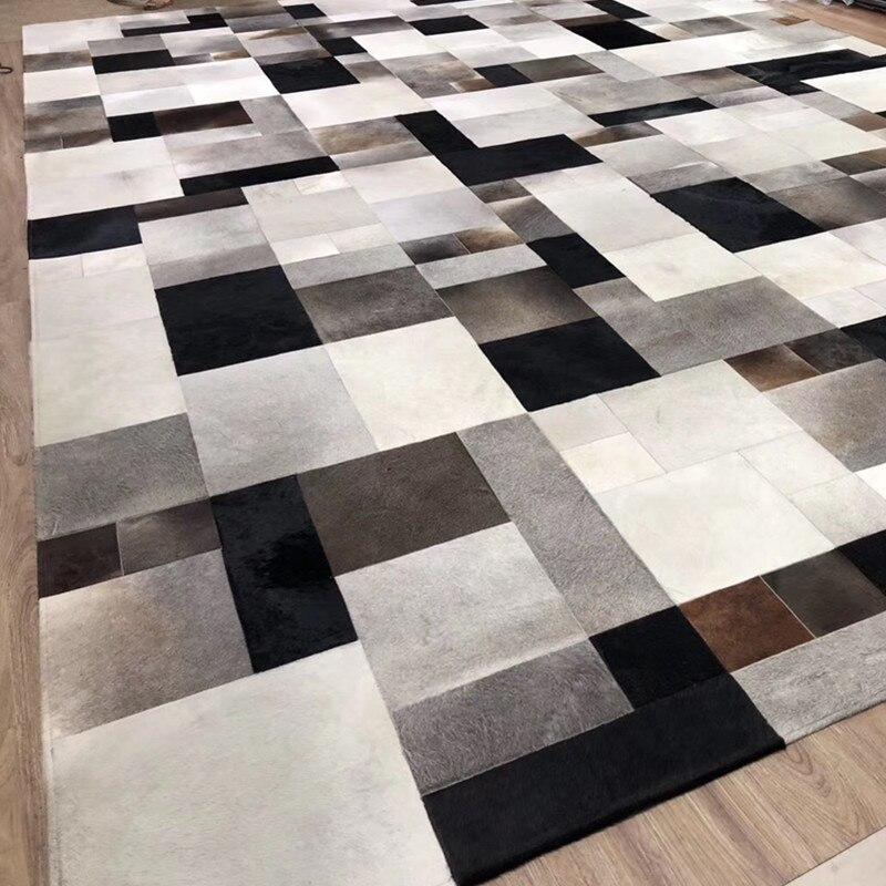 Peau de vache naturelle tapis Patchwork moderne blanc et noir gris marron mélangé véritable tapis en cuir