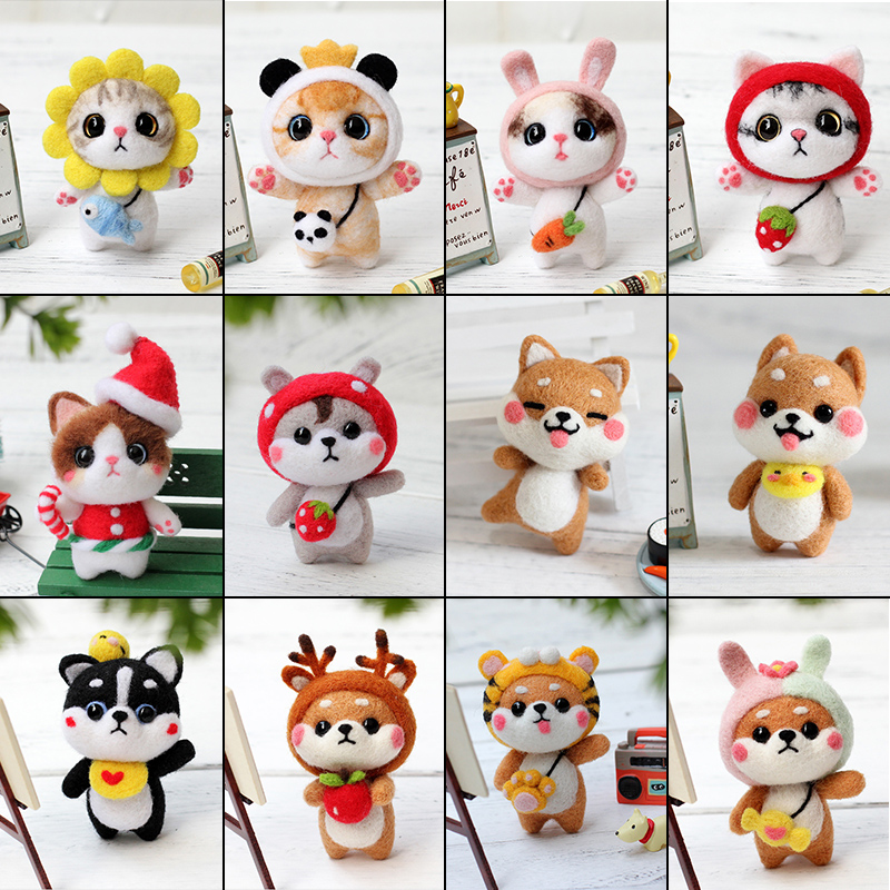 MIUSIE Fashion Custom Doll Wool Felt Craft DIY Non Finished Poked Set Handcraft Kit for Needle Material Bag Pack Doll For Girl