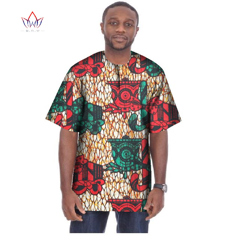 Mode africain Style manches courtes T-Shirts Dashiki africain imprimé hauts hommes vêtements africains grande taille 6XL BRW WYN03