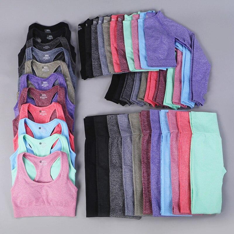 Women Seamless Yoga Sets Fitness Sport Gym Suits Clothing Long Sleeve Bra Shirts High Waist Running Leggings Workout Pants