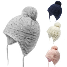 цена Cute Baby Hat Soft Cotton Newborn Baby Beanie Double Layer Warm Winter Hat For kids Girls Boys Knitted Kids Hats for 0-18M онлайн в 2017 году