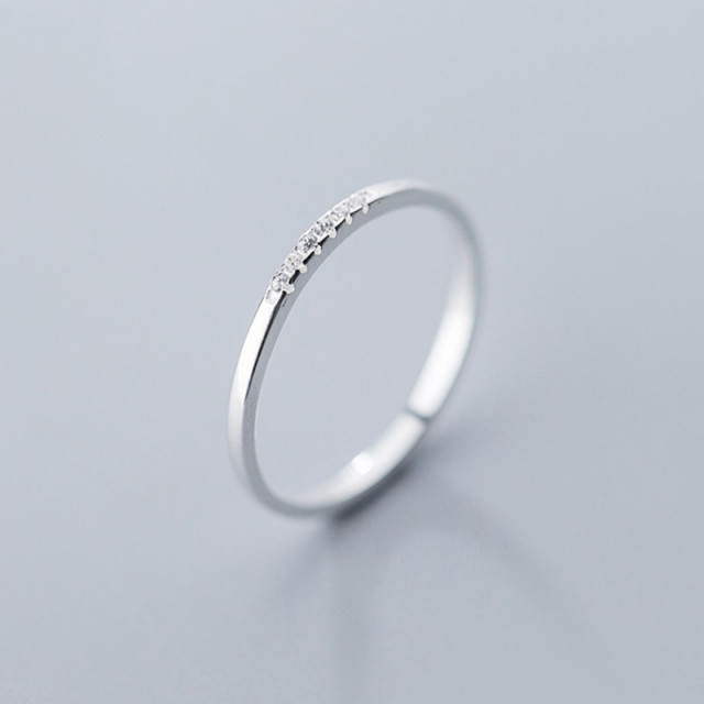 925 Sterling Silver Zircon Round Geometric Ring