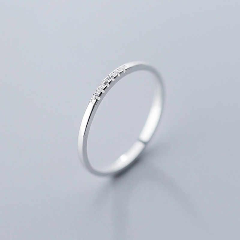 INZATT réel 925 en argent Sterling Zircon rond géométrique anneau pour les femmes de mode mignon bijoux fins 2019 minimaliste accessoires cadeau