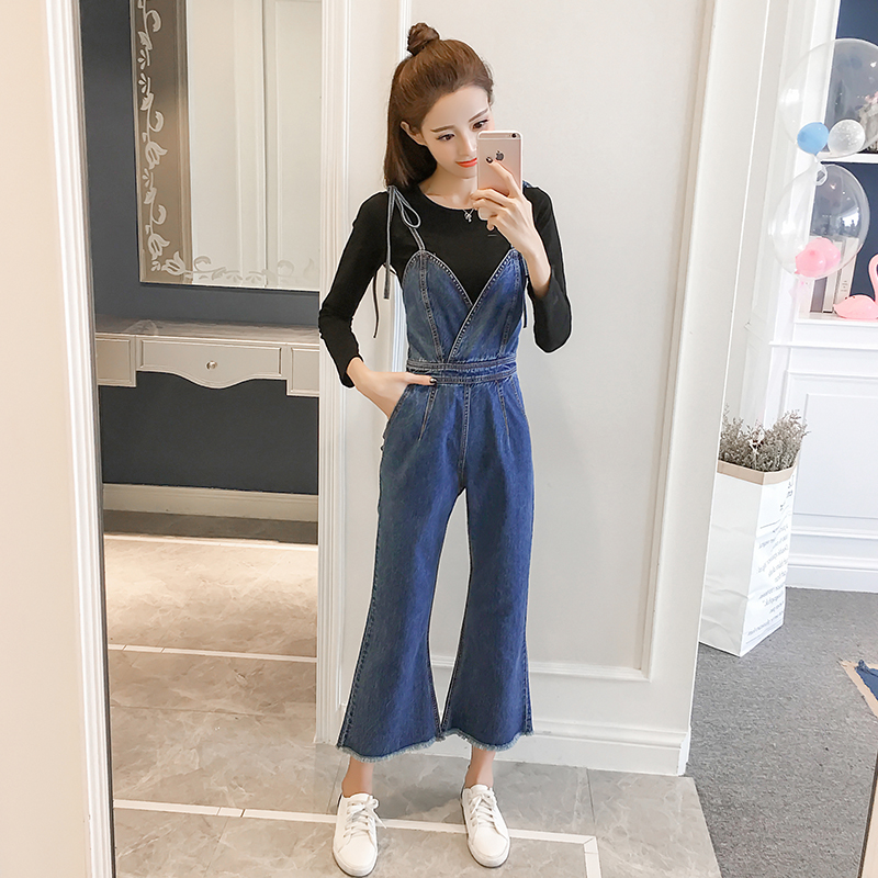Sexy Backless V-Neck Spaghetti Strap Denim Overalls Jumpsuits Woman Baggy Wide Leg Flare Jeans Jumpsuit Romper For Women