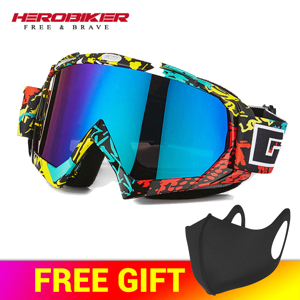HEROBIKE Motorcycle Off-Road Racing Goggles Winter Skate Sled ATV Eyewear Motocross DH MTB Glasses Single Lens Clears Glasses