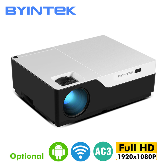 BYINTEKK11 Smart Android projector, 1920x1080 resolution, FULL HD 1080P support 4K,LED long life beamer,for Home Theater Cinema