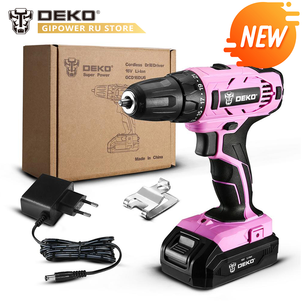 DEKO GCD16DU6 16V Max Electric Screwdriver Cordless Drill Mini Wireless Power Driver DC Lithium-Ion Battery 2-Speed