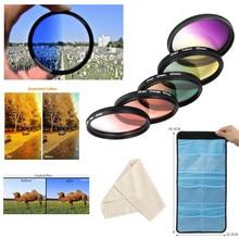 Набор градиентных цветных фильтров 55 мм, красный, оранжевый, желтый, фиолетовый, синий, зеленый, для Nikon D3400, D3500, D5600, D7500, vr объектив 18 55 мм, с функцией VR
