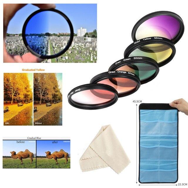 55mm 레드 오렌지 옐로우 퍼플 블루 그린 니콘 D3400 D3500 D5600 D7500 AF P DX 18 55mm VR 렌즈 용 컬러 필터 키트