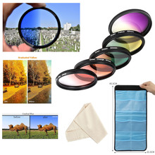 55mm rouge Orange jaune violet bleu vert gradué couleur Kit de filtre pour Nikon D3400 D3500 D5600 D7500 AF P DX 18 55mm VR objectif