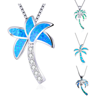 Cute Female Plant Coconut Tree Pendant Necklace Silver Color Wedding Necklace Boho Green Blue Opal Necklaces For Women