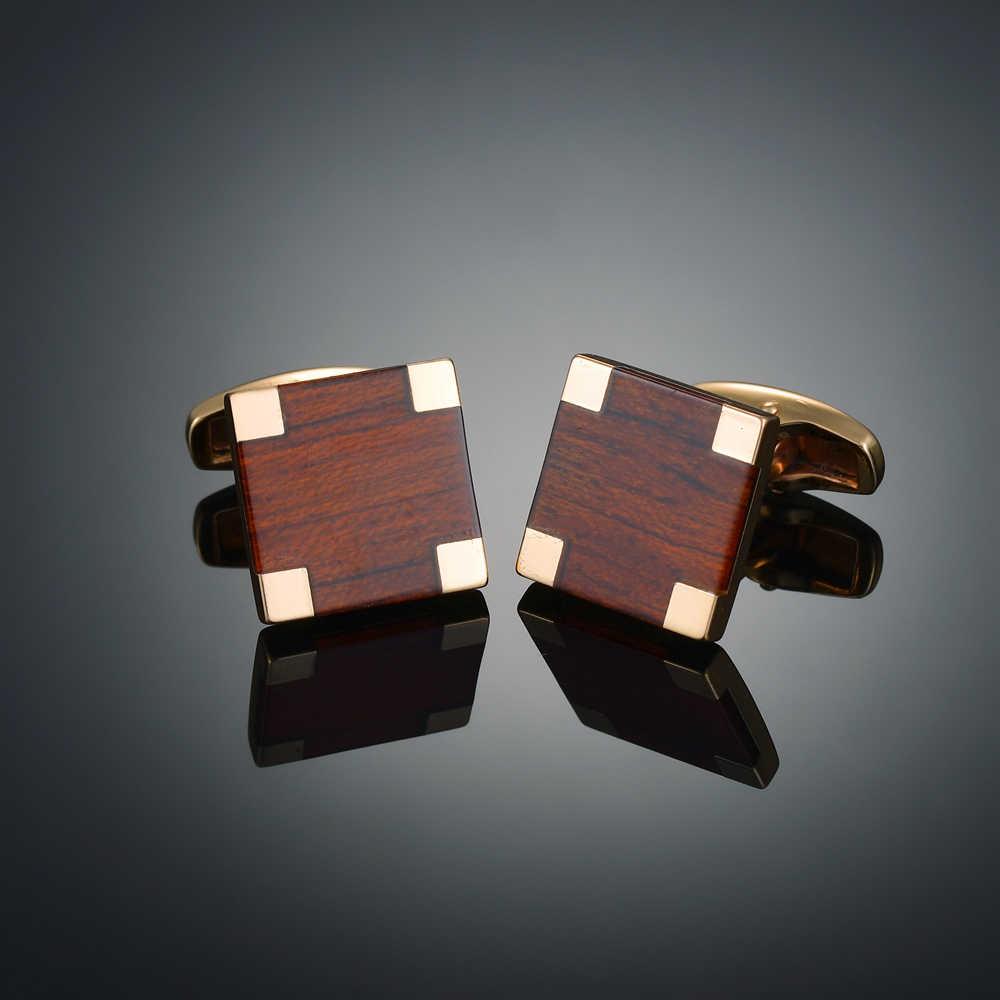 Gemelos de madera redondos/cuadrados a la moda para hombre gemelos de madera para boda