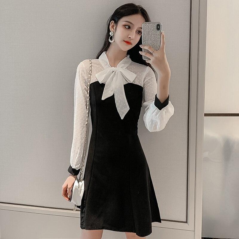 Noeud papillon Patchwork robe automne hiver nouveau coréen Chic une ligne Mini manches longues femmes robe élégante dame bureau Vestidos Mujer S-XL