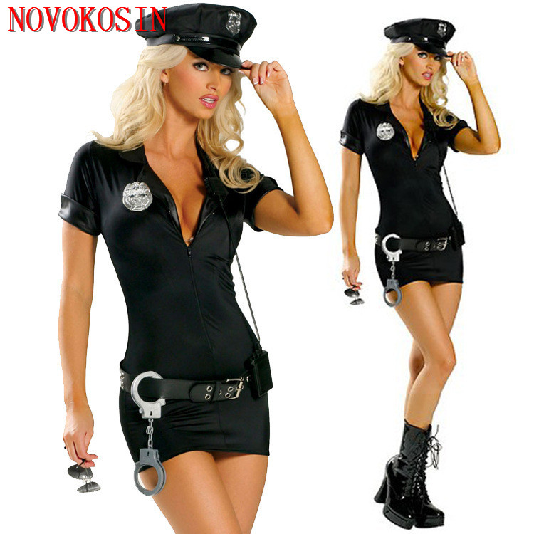 YQ1 S-2XL 5 Pieces 2020 New Ladies Non-Woven Policewomen Fancy <font><b>Halloween</b></font> <font><b>Costume</b></font> <font><b>Sexy</b></font> Police Outfit <font><b>Women</b></font> Role-Playing Cosplay image